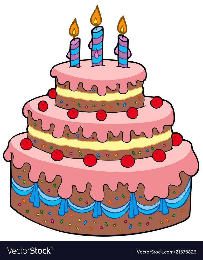 Big cartoon birthday cake vector image on 생일 아이디어, 생일 축하