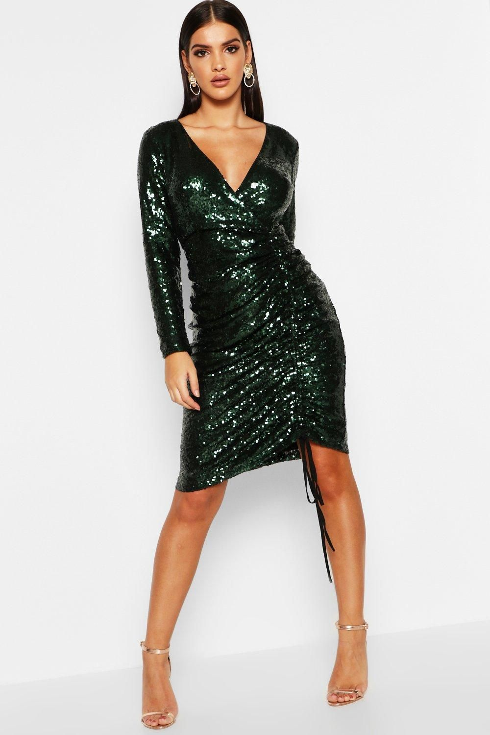 843a19636b7 Click here to find out about the Sequin Plunge Neck Ruched Midi Dress from  Boohoo