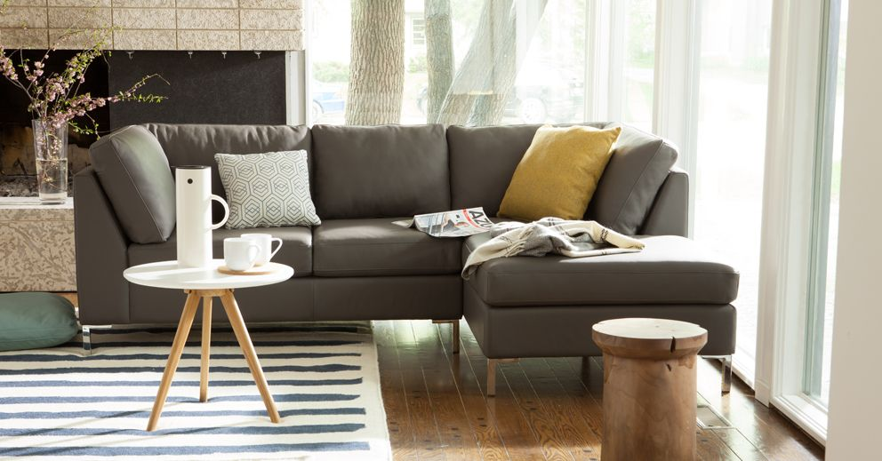 Salema 2 Piece Sectional Sofa With Chaise   Leather | EQ3 Modern Furniture