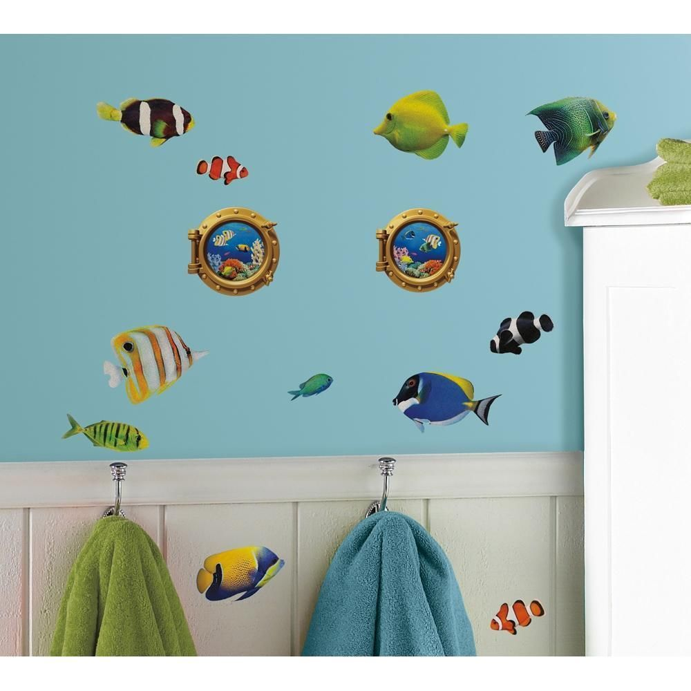 New Tropical Fish Lenticular Portholes Wall Decals Ocean Bathroom Stickers Roommates