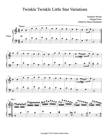 Twinkle Little Star 6 Variations By Mozart Level 5 Piano Sheet Music Piano Sheet Mozart Music Sheet Music