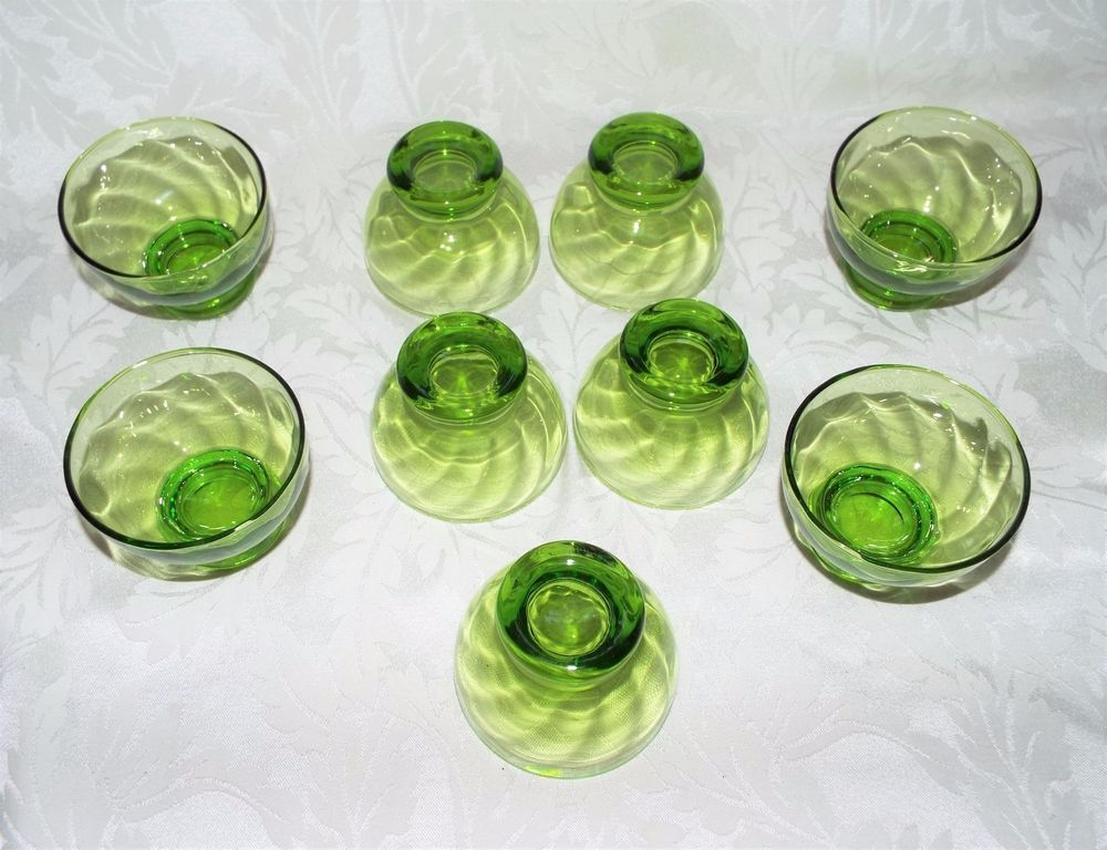 Green glass dessert cups vintage set of 9 swirl footed