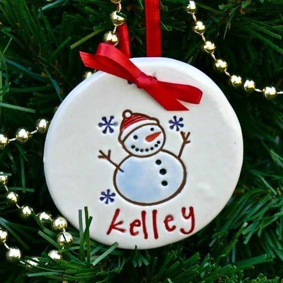 Personalized Snowman with Snowflakes Christmas Ornament - 2015 Christmas Ornament - Holiday Ornament - Christmas Decorations -  Xmas Decor