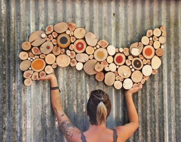 wanddekoration selber machen puristische skulpturen aus naturholz d co maison maisons et d co. Black Bedroom Furniture Sets. Home Design Ideas