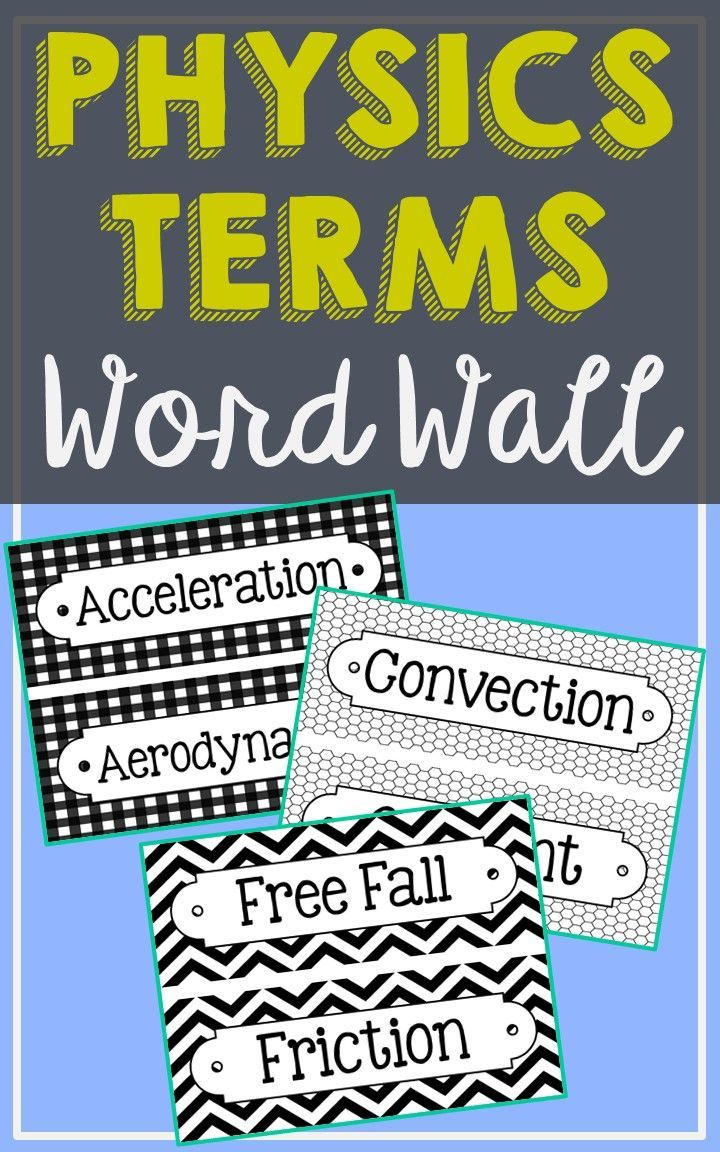 52 Physics Science Vocabulary Word Wall Terms With EDITABLE Cards