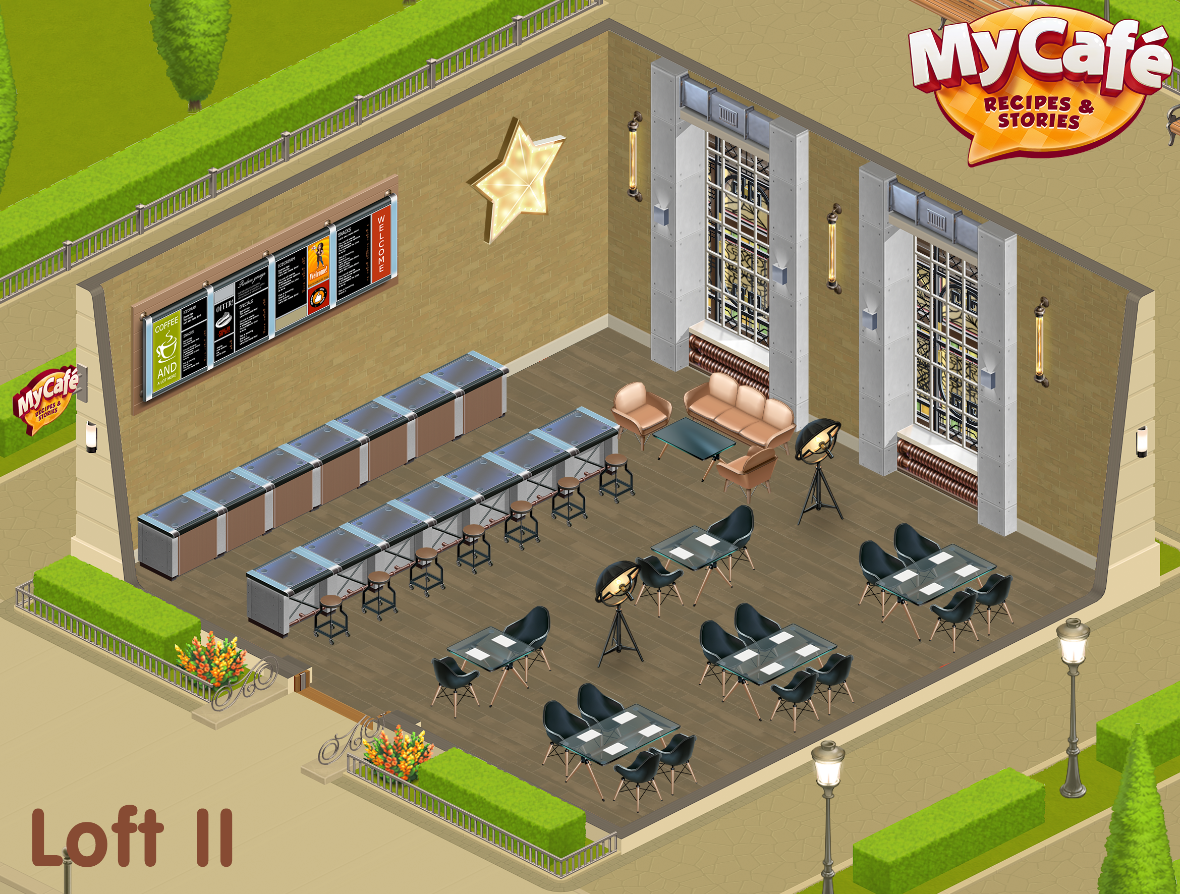Loft Ii Style My Cafe Game Mycafe Mycafegame Cafe Design
