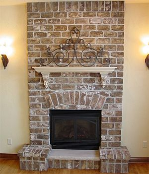 but in a rounded style corner fireplace. | Decorating Ideas | Pinterest | Brick fireplace