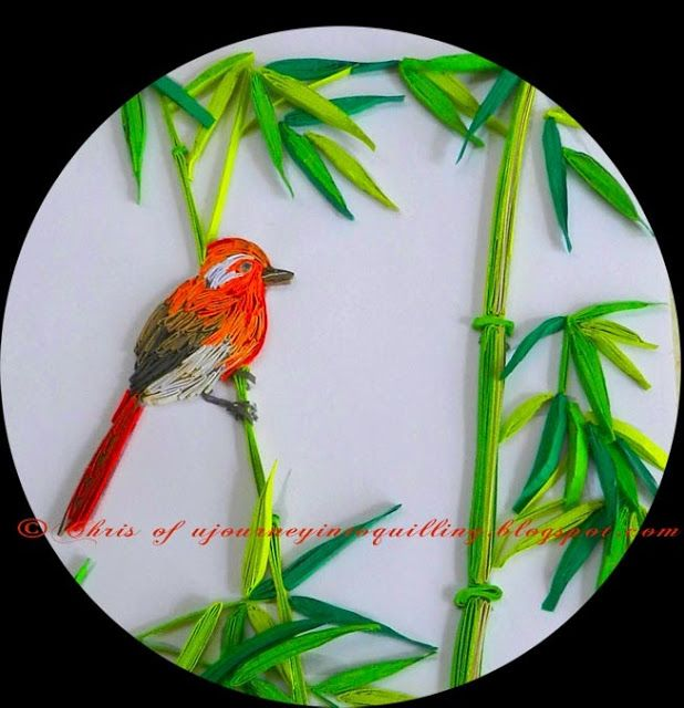 A Journey into Quilling & Paper Crafting - Quilled Bird and Bamboo