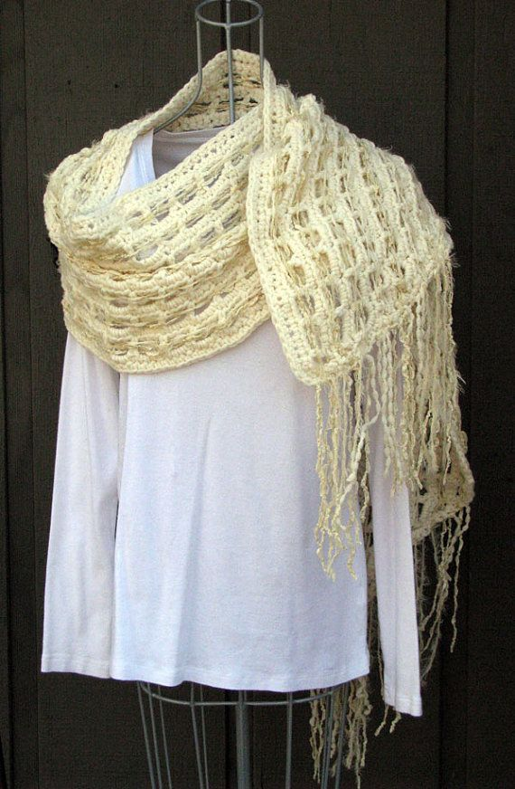 SALE Shawl Hand Crocheted cream wrap Ribbon by rochelleoriginals, $25.00