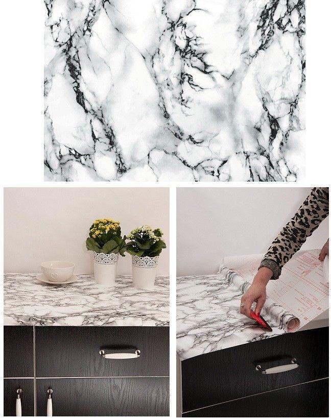Best Kitchen Worktop Covering Vinyl Self Adhesive Black Grey 640 x 480