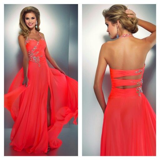 2013 Neon coral prom dress with embellishments. Love the halter strap thts rare. And i love the slits in the back. I love the dress id give it a 9 outta 10