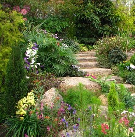Stairs in rock garden -   23 tropical rock garden ideas