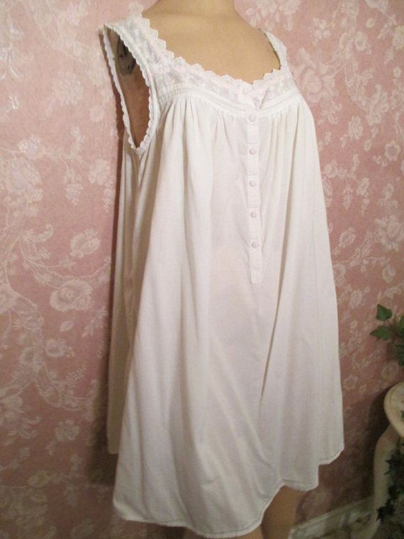 1c632d9cd3 Vintage Nightgown All Cotton Short White Eyelet L M Summer Pink ...