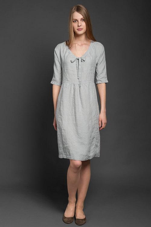brand new 24655 b6a0d Grau Leinen Kleid, XXL sowie Größen, reines Leinen Sommer ...