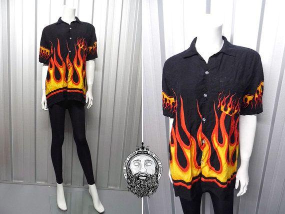 c75086183 Vintage 90s Grunge Flame Print Fire Shirt Button Up Shirt 90s Goth Club Kid  1990s Clothing Hawaiian Shirt Punk Shirt Cyber Shirt Rave Wear