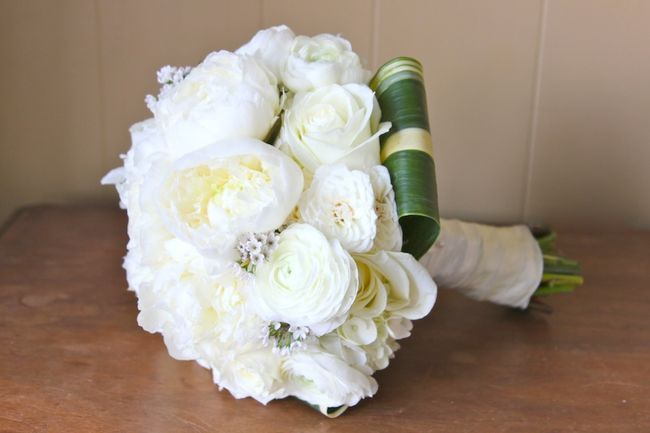 White Bridal Bouquet With Peonies Garden Roses And Ranunculus Jessi