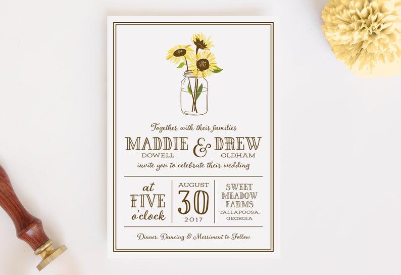 Wedding Invitation and RSVP Card Mason Digital File PDF