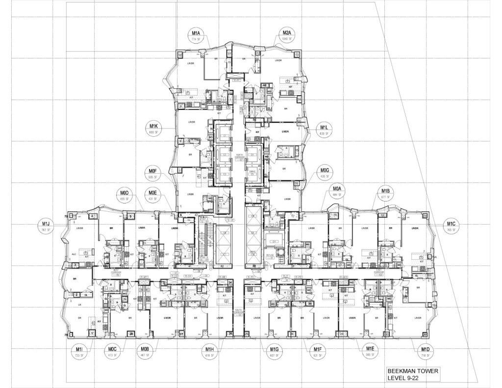 The Big Brush Beekman tower, Gehry, Hotel floor plan