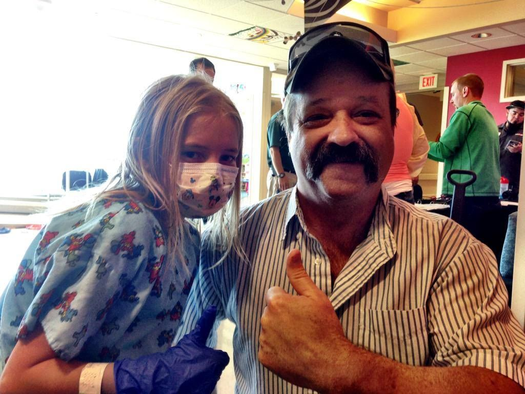 Rick is interviewing cute kids, like Lexi, at Sacred Heart Children's Hospital, during Children's Miracle Network.