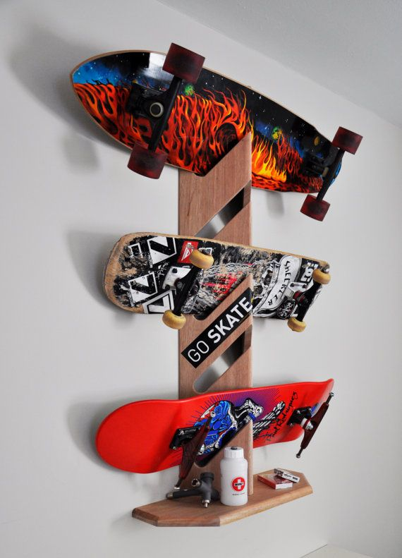 cool skateboard wall shelves ideas | Skateboard Display Rack by woodwaze on Etsy, $45.00 Cool ...