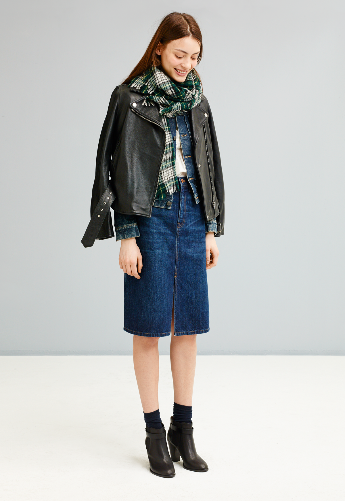 6c55974394 Madewell ultimate leather jacket worn with denim midi skirt + the Lonny  boot.