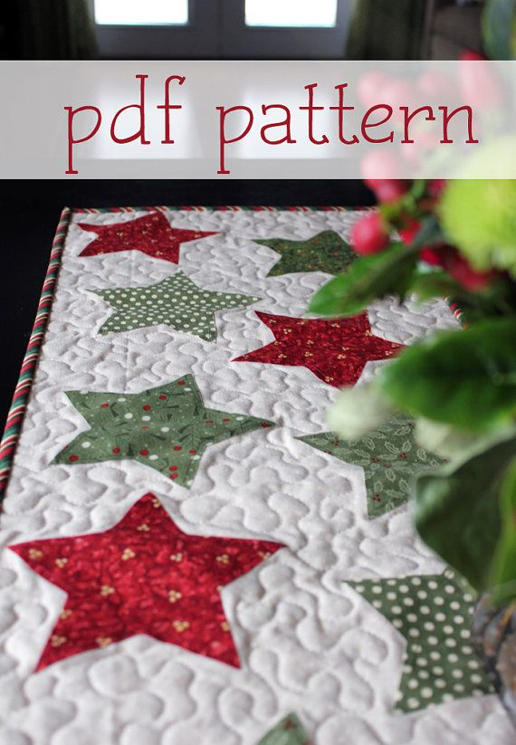 Christmas Star Table Runner PATTERN (PDF) | Sterne, Muster und ...