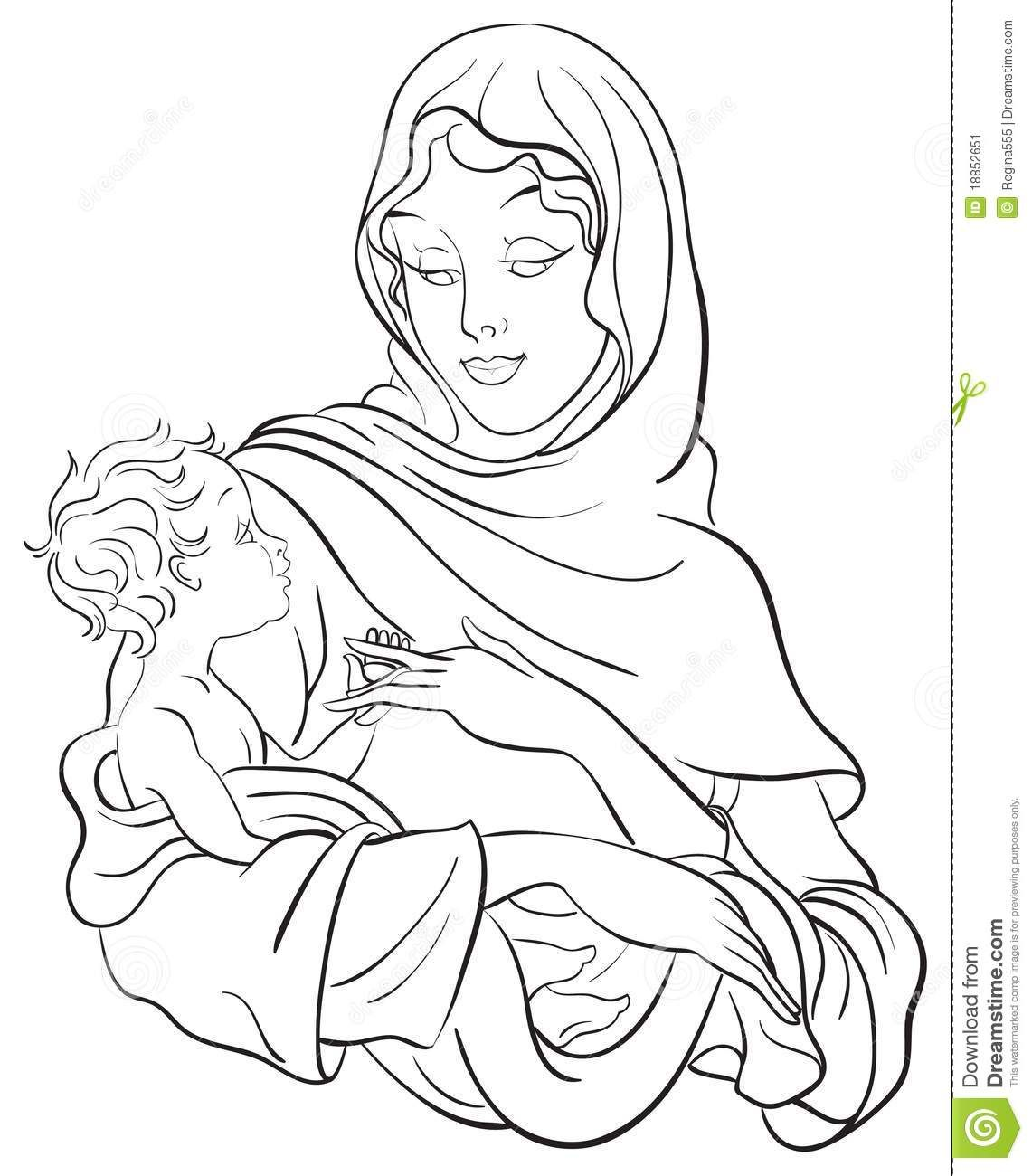 Christmas Nativity Scene Coloring Page with Words | Madonna And Baby ...