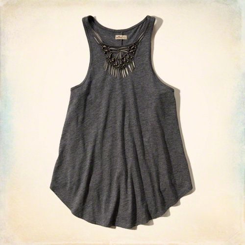 Shine Necklace Swing Tank with embellished detailing at neckline.