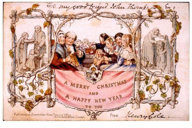 Maailman ensimmäinen painettu joulukortti.