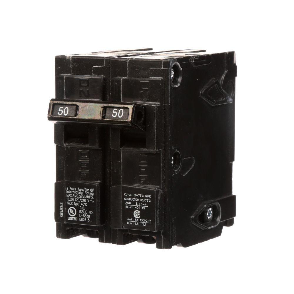 Siemens 50 Amp DoublePole Type QP Circuit BreakerQ250