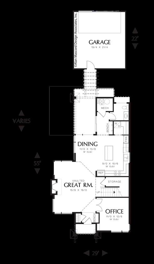 Mascord House Plan 21121 The Darbi Narrow House Plans Garage Floor Plans Garage House Plans