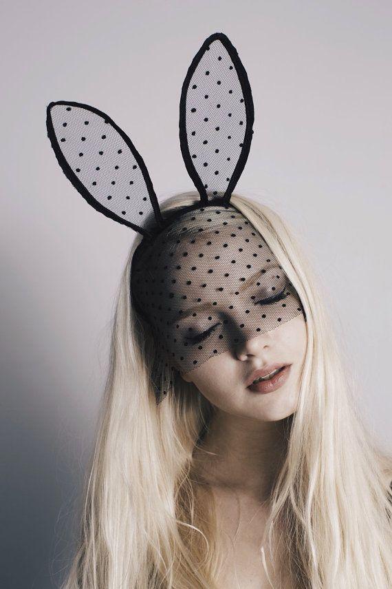 Halloween handmade black polka dot lace mask tall bunny by AGMU e9693456e8b0