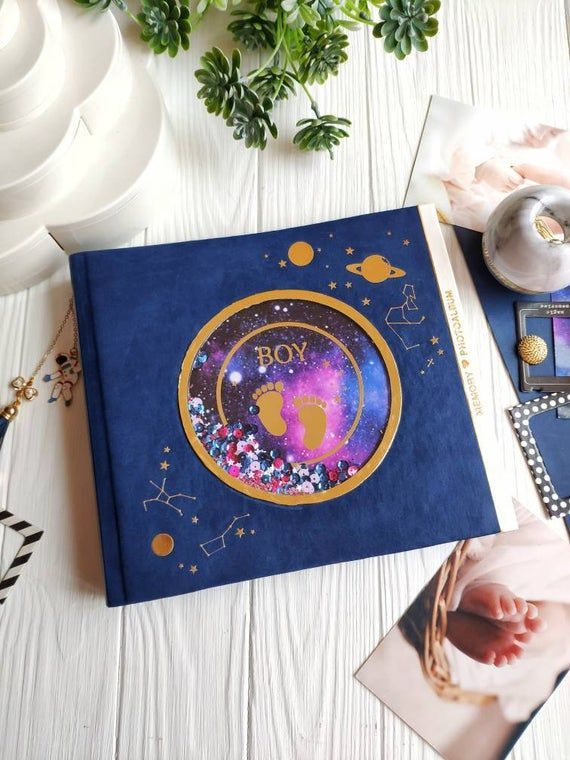 #zähne Baby Memory Book for Boy - Space Theme Baby Photo ...