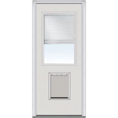 smooth prehung front door with pet door efsf684blfs30 pinteres