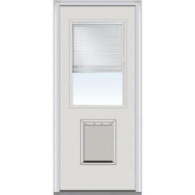Beautiful MMI Door 34 In. X 80 In. Internal Blinds Right Hand Inswing 1/2 Lite Clear  Primed Steel Prehung Front Door With Pet Door EMJF684BLPR210R   The Home  Depot