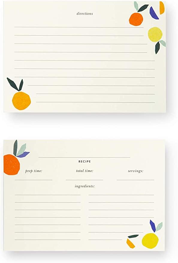 Amazon Com Kate Spade New York Double Sided Recipe Card Refills Set Of 40 Citrus Twist Kitchen Dining Recipe Cards Citrus Twist Family Cookbook Project