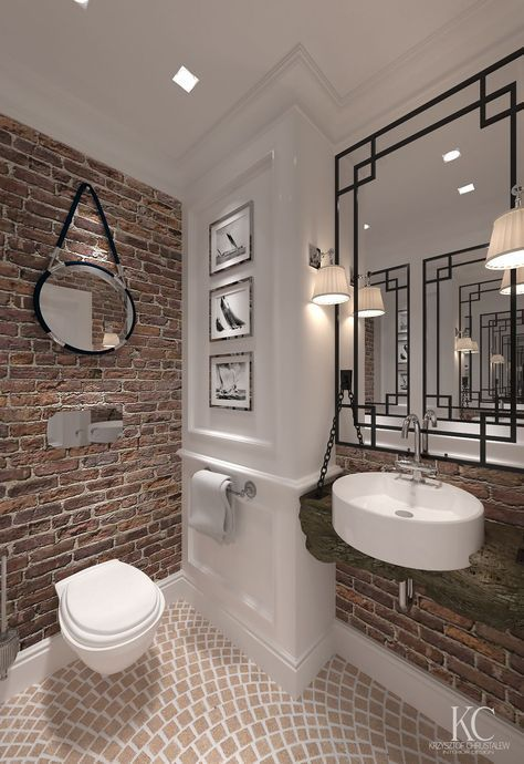 Exposed Brick Bathroom Wall Small Chimney Toilets Subway
