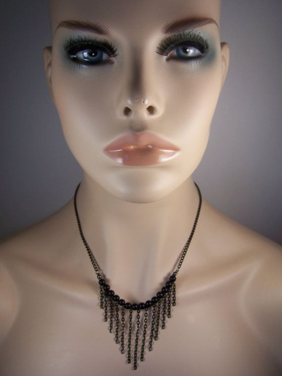 Black Chain Dangle Bib Necklace by ArtOfAlice on Etsy