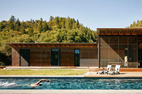 in the swim off the grid campsite healdsburg california swimming pool solar heat lap pool ipe deck loll designs lounge chairs