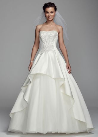Timeless ball gown silhouette combines with stylish metallic embroidery