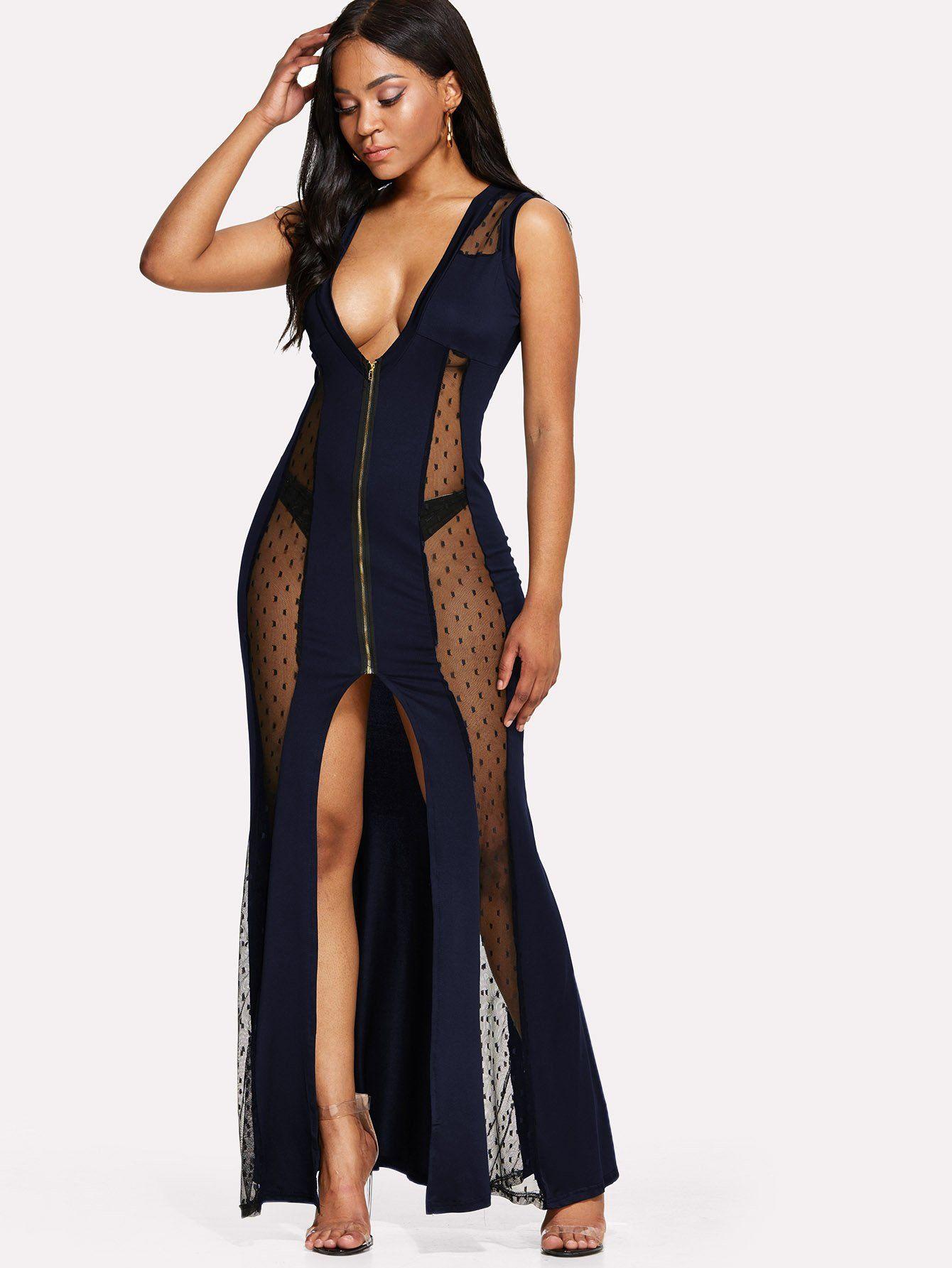 Contrast mesh split dress in fashion pinterest fashion