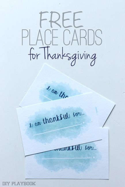 FREE Thanksgiving Watercolor Place Cards - DIY Playbook