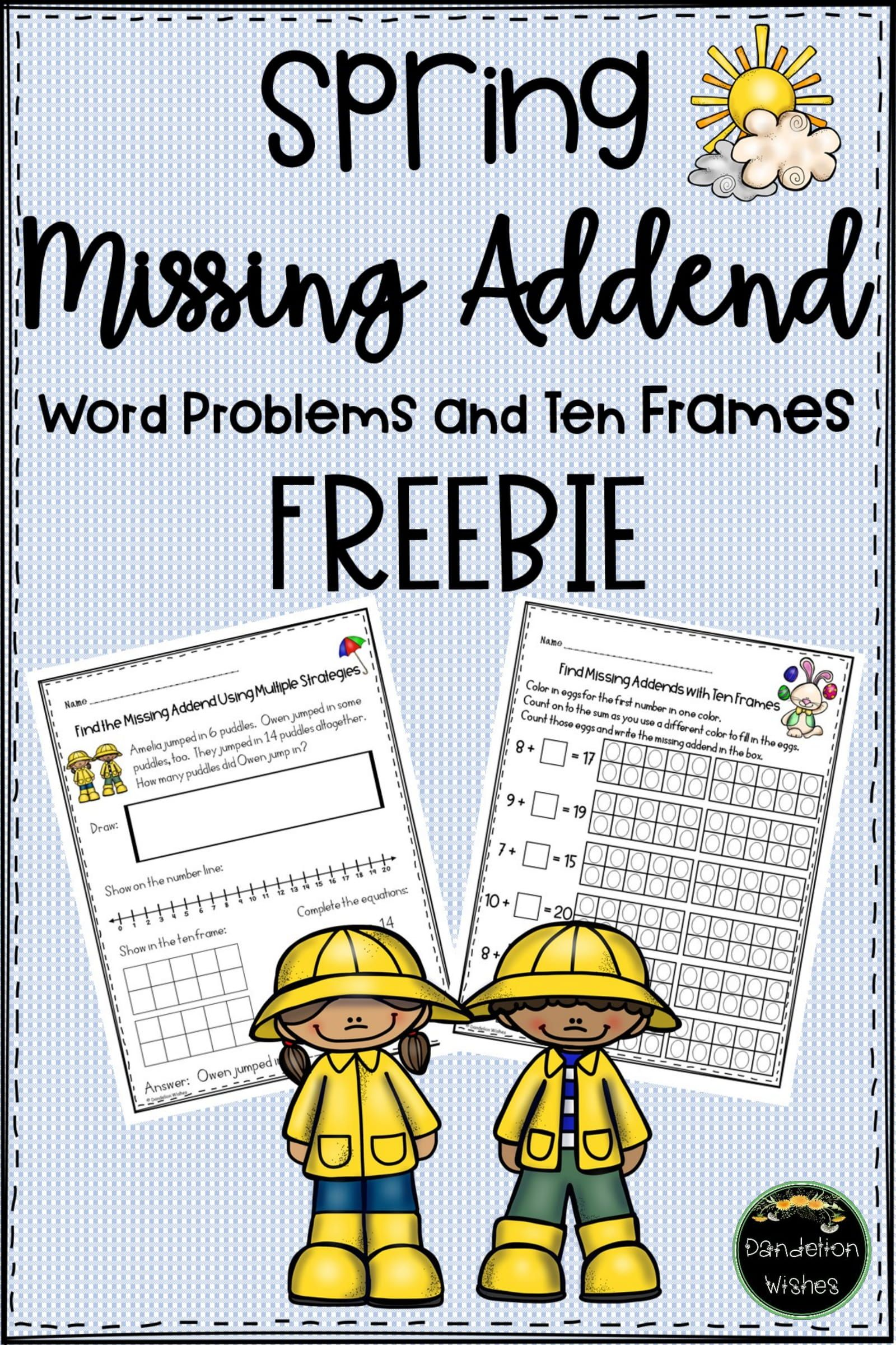Missing Addend Word Problems And Ten Frames
