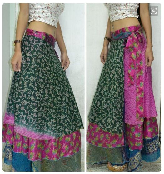 3 Layers Long Wrap Skirt - India recycled Sari fabric - 2 Tie Straps - This is 2 Indian skirts put together with a new waist band.