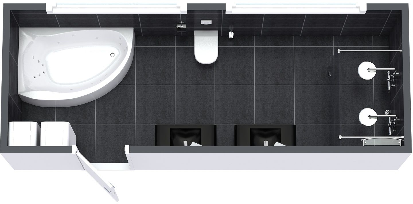 Winning design aerial view of a 3d floor plan for a for Plan your bathroom 3d