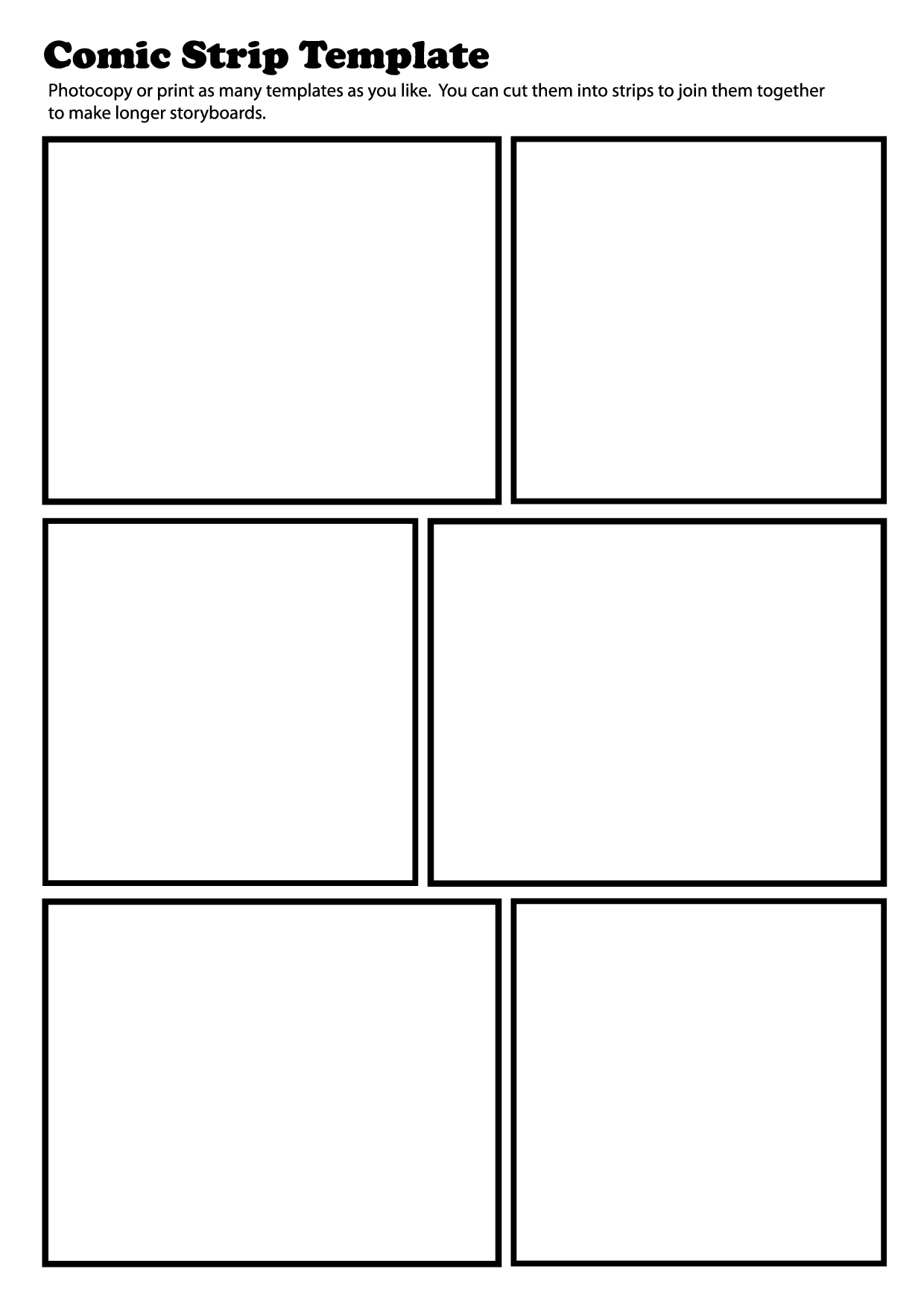 Cartoon Strip Blank Worksheet