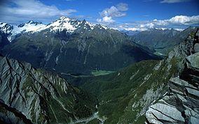 West Matukituki Valley and the Matukituki River seen from Cascade Saddle.
