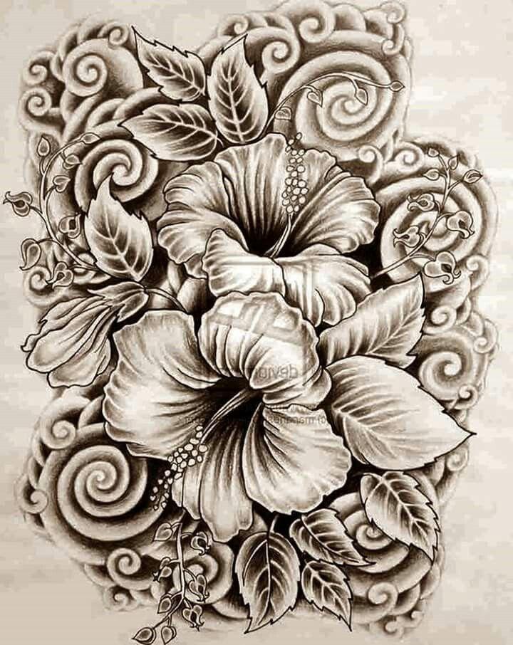 Tatouage hibiscus ibiscus dessin dessin - Dessin hibiscus ...