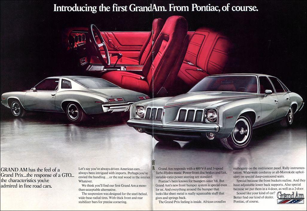 Pontiac 1973 Pontiac Automobile Advertising Pontiac Grand Am