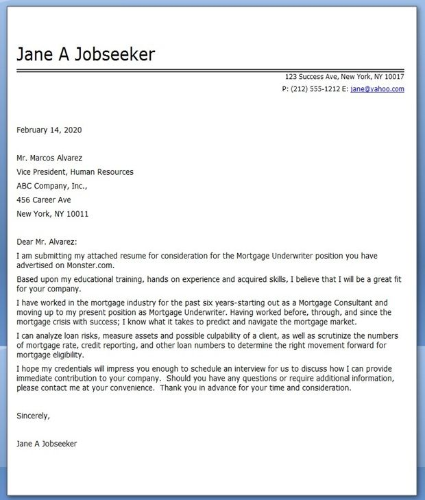 Example Cover Letter For Mortgage Underwriter Creative Resume